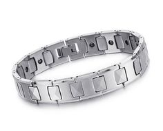KATGI Brazil Hematite Steel Magnetic Energy Black Stone Wide Pure Steel Bracelet (Men & Women)