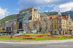 Old architecture building with Tampa mountain in background on July 26, 2013 in Brasov, Romania. Brasov is known as the Green Capital of Romania for its parks and gardens.