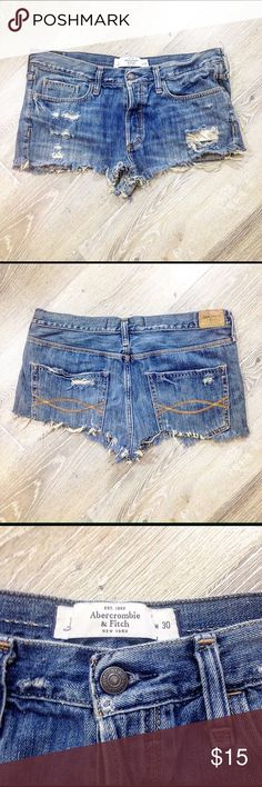 Abercrombie blue Jean shorts Ripped short Jean  shorts Abercrombie & Fitch Shorts Jean Shorts