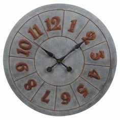 """Metal wall clock with distressed hands and a raised numeral face.  Product: Wall clockConstruction Material: MetalColor: Gray and rustAccommodates: (1) AA battery - not includedDimensions: 32"""" Diameter x 2"""" D"""
