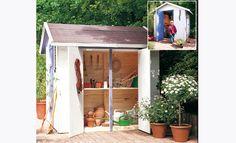 Apprendre à réaliser soi-même une cabane de jardin avec des rangements supplémentaires sur les côtés pour stocker tous ses outils : une réalisation po... Gazebo, Pergola, Getaway Cabins, Parasol, Planter Boxes, Play Houses, Outdoor Storage, Shed, Backyard
