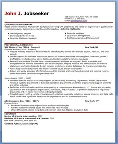 financial analyst resume sample - Financial Analyst Resume