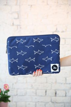 "Canvas Laptop Case 15"" Shark Print http://www.thewhitepepper.com/collections/bags/products/canvas-laptop-case-15-shark-print"