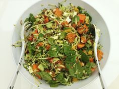 Party Salad. #dairyfree #wheatfree #nutritional. Spinach, grated courgette, red pepper, yellow pepper, avocado, roasted butternut squash, green lentils, cannellini beans, feta cheese, shoots, rapeseed oil and lemon juice. www.facebook.com/whatkatherineeats