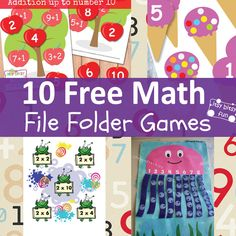Numbers, addition, subtraction and multiplication! Learning with math file folder games is always fun so I've decided to find the ! I've already got quite a collection of free printable file folder. File Folder Activities, File Folder Games, Math Games, Preschool Activities, Free Preschool, Preschool Printables, Math For Kids, Games For Kids, Math Folders