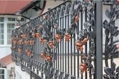Roses. Wrought Iron Details.  Balustrade.