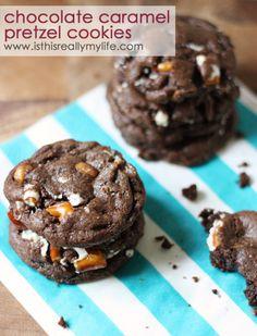 Chocolate caramel pretzel cookies | BarbaraBakes.com