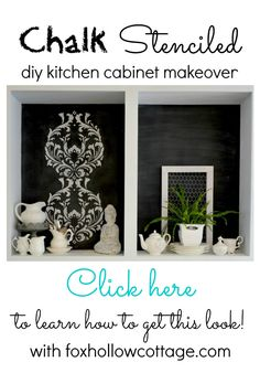 Kitchen Makeover with Chalk Stenciled Open Cabinets - Before & After