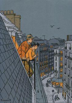 Le Neuvième Art is part of Art Sur les toits Dodier - Gravure Illustration, Art And Illustration, Art Sketches, Art Drawings, Drawing Art, Pencil Drawings, Bd Art, Buch Design, Ligne Claire