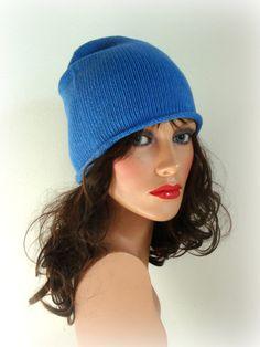 Spring Hat  Women Men Blue tone colours Hat  Mens by InkaBoutique