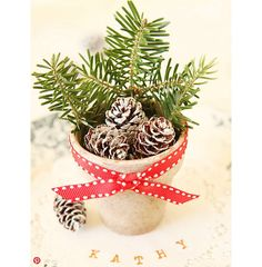 A ceia é um dos momentos mais importantes do Natal. Por isso, selecionamos 24 arranjos para tornar esse momento ainda mais especial.  Vasinhos com mini pinhas e ramos de alecrim podem servir de enfeites pessoais. Destaque para o laço em vermelho e branco.