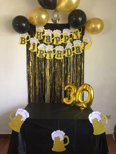 Beer Birthday Party, Hubby Birthday, Birthday Goals, 30th Birthday Parties, Birthday Diy, Birthday Decorations For Men, Birthday Party Decorations, Birthday Balloons, Impreza