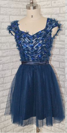 Sweetheart Short Navy Blue Prom Dress Lovely   cutedressy Navy Blue Prom Dresses, Homecoming Dresses, Chromatic Aberration, Short Prom, Dress For You, Different Fabrics, Must Haves, Custom Made, Bridesmaid