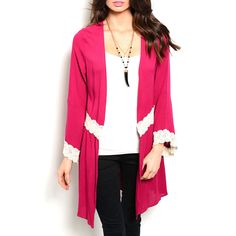 JED Women's 3/4-sleeve Cardigan with Lace Trim Detailing