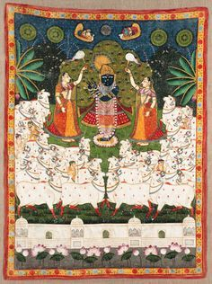 A Pichhavai of Shrinathji with Gopis   India, Kota, 19th Century   Depicting Krishna as Shrinathji playing the flute in front of the kadamba tree under a moonlit and starry night, attended by two gopis bearing flywhisks in adulation, surrounded by a herd of cows with a walled pavillion below enclosing lotus blossoms, all framed by a floral border  76 x 66.3 in. (195 x 170 cm.)