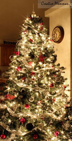 beautifully decorated tree traditional christmas, color, white lights, christmas decorations, ribbon, christmas tree decorations, christma tree, gold christmas, christmas trees