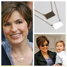Metal Name Plate, Small Rectangle /Square Necklace, Mariska Hargitay | gemsinvogue - Jewelry on ArtFire