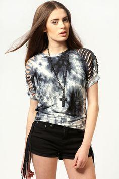 Penny Slash Shoulder Tie Dye Top at boohoo.com