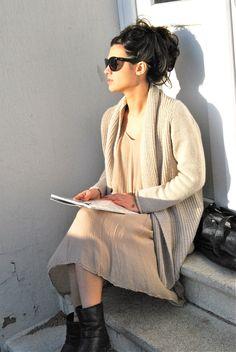 non violent silk hand dyed linen silk velvet eco cotton slow fashion artisanal layered look.. Street Style 2014