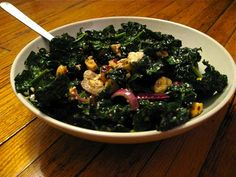 Kale salad. Even better the second day after the acid in the vinegar breaks down the kale a little.