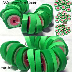 Handmade Polymer Clay Watermelon Chunky Discs by rosebud101 on Etsy