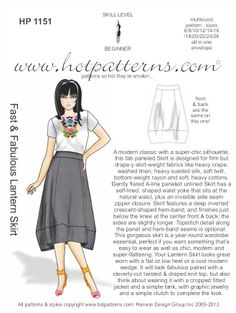 e-HP 1151 Fast & Fabulous Lantern Skirt > Hpt Patterns Diy Clothing, Sewing Clothes, Clothing Patterns, Sewing Patterns, Skirt Patterns, Sewing Hacks, Sewing Tutorials, Sewing Tips, Sewing Projects