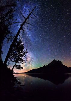 Grand Teton mountain range nightscape, Grand Teton National Park, Wyoming ... by Royce Bair