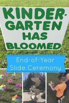 This Slide Ceremony celebrates end of the year kindergarten growth while marking the transition to first grade. Ideas and activities provide a meaningful alternative to kindergarten or preschool graduation and doesn't involve weeks of prep and practice!