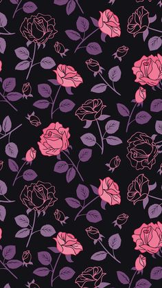 Black and purple wallpaper, purple roses wallpaper, pattern wallpaper iphon Pink And Purple Wallpaper, Trendy Wallpaper, Tumblr Wallpaper, Pretty Wallpapers, Galaxy Wallpaper, Flower Wallpaper, Screen Wallpaper, Mobile Wallpaper, Pattern Wallpaper