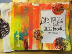 Here is one of these pages that was used to wipe my brush and also on which I made a print of my flat Gelli: -- Cofffeebreak - step 1 - birgitkoopsen