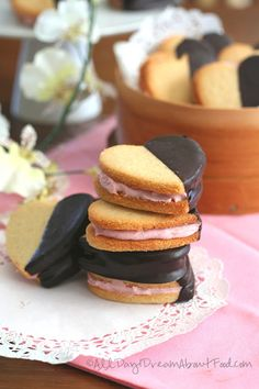 Chocolate Covered Strawberry Cream Sandwich Cookies