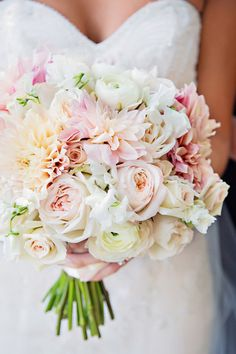 Roses, dahlias, ranunculus, and sweet pea bouquet