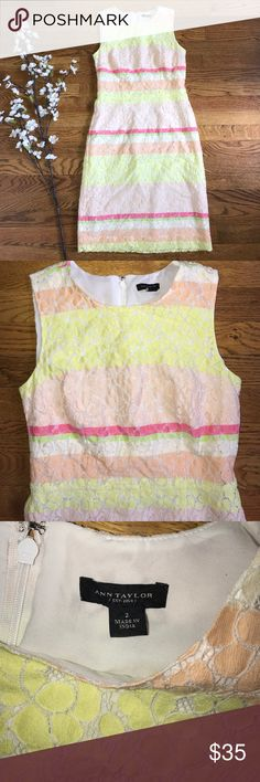 Ann Taylor pastel stripe lace overlay dress size 2 Adorable Ann Taylor dress. Size 2. Lace overlay style. Back zipper closure. Excellent preowned condition. Ann Taylor Dresses