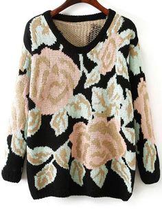 Shop Black Long Sleeve Rose Pattern Knit Sweater online. Sheinside offers Black Long Sleeve Rose Pattern Knit Sweater & more to fit your fashionable needs. Free Shipping Worldwide!