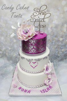 purple heart stenciled engagement cake  by Eman