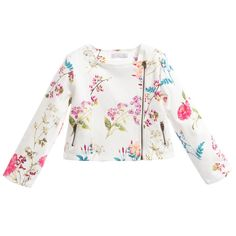 Patachou girls off-white short jacket made from lightweight pique cotton with an all over bright coloured beautiful floral print. With a feminine biker style twist, it has a side zip fasting and pockets, the perfect beautiful and elegant addition to a special occasion outfit.<br /> <ul> <li>Jacket: 98% cotton, 2% elastane (lightweight pique feel)</li> <li>Lining: 100% cotton (soft against the skin)</li> <li>Machine wash (30*C)</li> <li>Designer colour: printed floral</li> </ul>