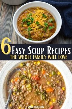 6 healthy and easy soup recipe that the whole family will enjoy. These simple soup recipes are always great to have on hand when you need a comforting dinner. #easysoup #souprecipe #homemadesoup Easy Taco Soup, Easy Soup Recipes, Easy Dinner Recipes, Crockpot Recipes, Cooking Recipes, Healthy Recipes, Dinners To Make, Easy Family Dinners, Stuffed Pepper Soup
