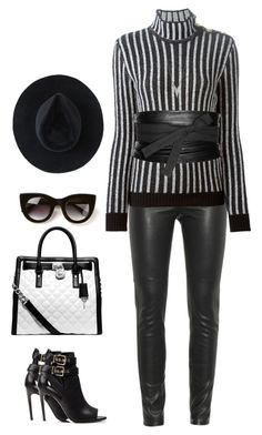 Punk Gothic by pupuwang on Polyvore featuring Balmain, Givenchy, Burberry, Michael Kors, Ryan Roche, Maison Margiela and Thierry Lasry