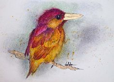 Bird 4 print from original 4x6 by valdasfineart on Etsy
