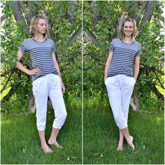 Feather's Flights: A Sewing Blog: White Linen Track Pants