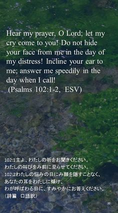 Hear my prayer, O Lord; let my cry come to you! Do not hide your face from me in the day of my distress! Incline your ear to me; answer me speedily in the day when I call! (Psalms 102:1-2,  ESV)102:1主よ、わたしの祈をお聞きください。 わたしの叫びをみ前に至らせてください。 102:2わたしの悩みの日にみ顔を隠すことなく、 あなたの耳をわたしに傾け、 わが呼ばわる日に、すみやかにお答えください。 (詩篇 口語訳)
