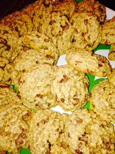 Oatmeal chocolate chip cookies: 1 stick plus 6 tbs softened butter,  3/4 cup brown sugar, 1/2 cup gran sugar, 1 1/2 cup flour,  1 tsp baking soda,  1 tsp cinnamon, 1/2 tsp salt, 3 cups Quaker oats, 1 bag chocolate chips. Mix first three ingredients, then add the next three, then mix in the last two. Bake at 350 degrees for 8-10 min.