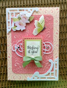 Card by Vickie Blakeslee. Anna Griffin Garden Windows card kit materials used along with lace embossing folder and cutting dies for Cuttlebug.