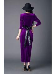 Ladies Noble Purple Back Split Package Hip Slim Lacing Bow Ankle-length Velvet Long Sleeve Maxi Dress Wholesale Clothing, Ankle Length, High Waisted Skirt, Velvet, Bows, Slim, Purple, Lady, Long Sleeve