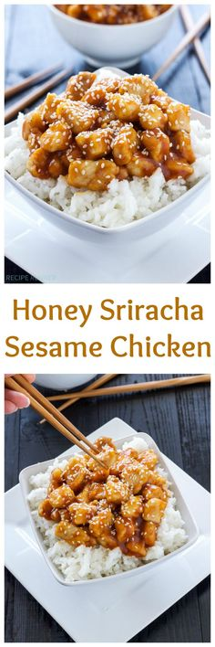 Honey Sriracha Sesame Chicken | Sweet and spicy chicken! So much tastier and healthier than takeout!