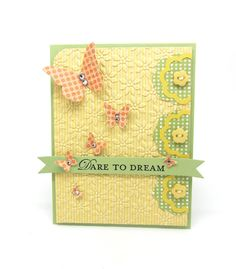 Lovely card using the Stampin' Up! Beautiful Wings Embosslits die and Blossom Triple Layer Punch.