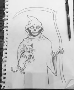 Sketching out designs for some Halloween inspired art. This one features Death and his Kitty.