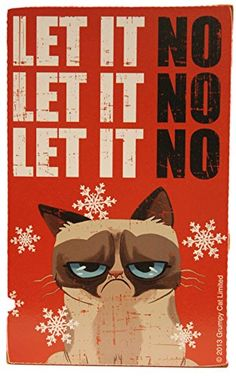 Grumpy Cat 8 x 5 Wall/Desk Block Let It No Christmas Decoration Grumpy Cat 8