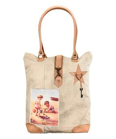 Love this Tan Toddlers At The Beach Canvas Tote on #zulily! #zulilyfinds