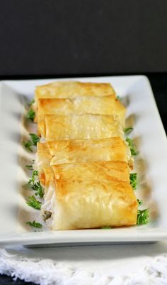 Chicken Boursin: chicken breast pieces with homemade boursin wrapped in a flaky filo wrapping.